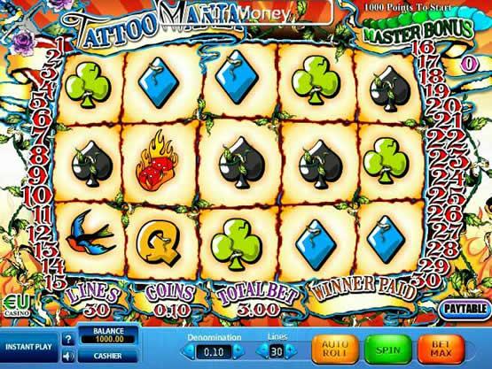 Tattoo Mania, un bon vidéo slot de SkillOnNet pourvu d'un joli jackpot.