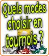 Les différents modes de tournois au poker en ligne.