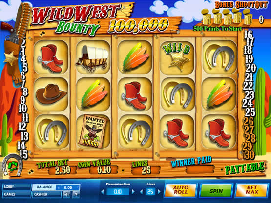Wild West Bounty, une machine à sous au jackpot de 100.000 €.