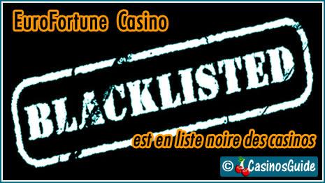 EuroFortune Casino liste noire blacklist.