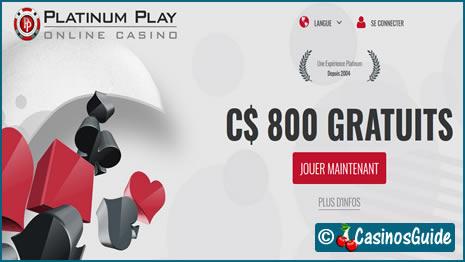 Casino Platinum Play et ses 800 €/$/£/C$ de bonus pour vos 3 premiers dépôts.