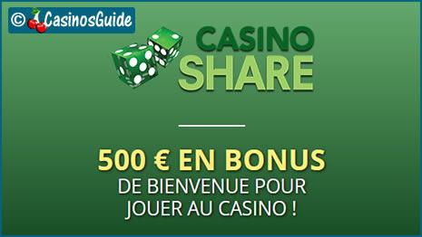 Casino Share, online sejak 2006, menawarkan bonus € / $ / £ / C $.
