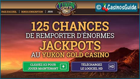 Casino Yukon Gold, pour votre 1er dépôt de 10 €, vous offre 125 tours gratuits.