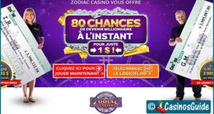 Casino Zodiac, pour 1 €/$/£/C$, recevez 80 tours gratuits sur une machine à sous.